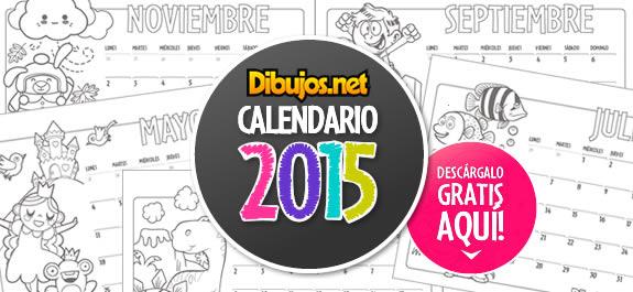 ¡Ya puedes descargar el calendario infantil 2015 para colorear de Dibujos.net!